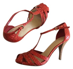 Nine West Leather Sandal Heel Red Snake Pumps