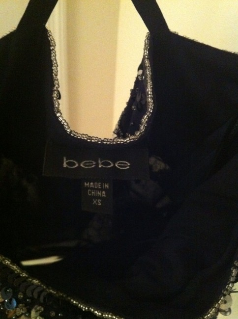 bebe Top Navy Blue/Silver Sequin