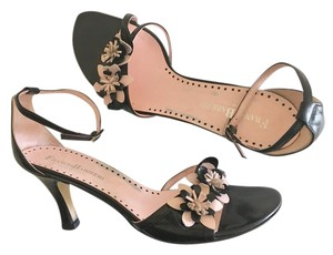 Franco Barbieri Heel Flower Leather Pink Black Sandals
