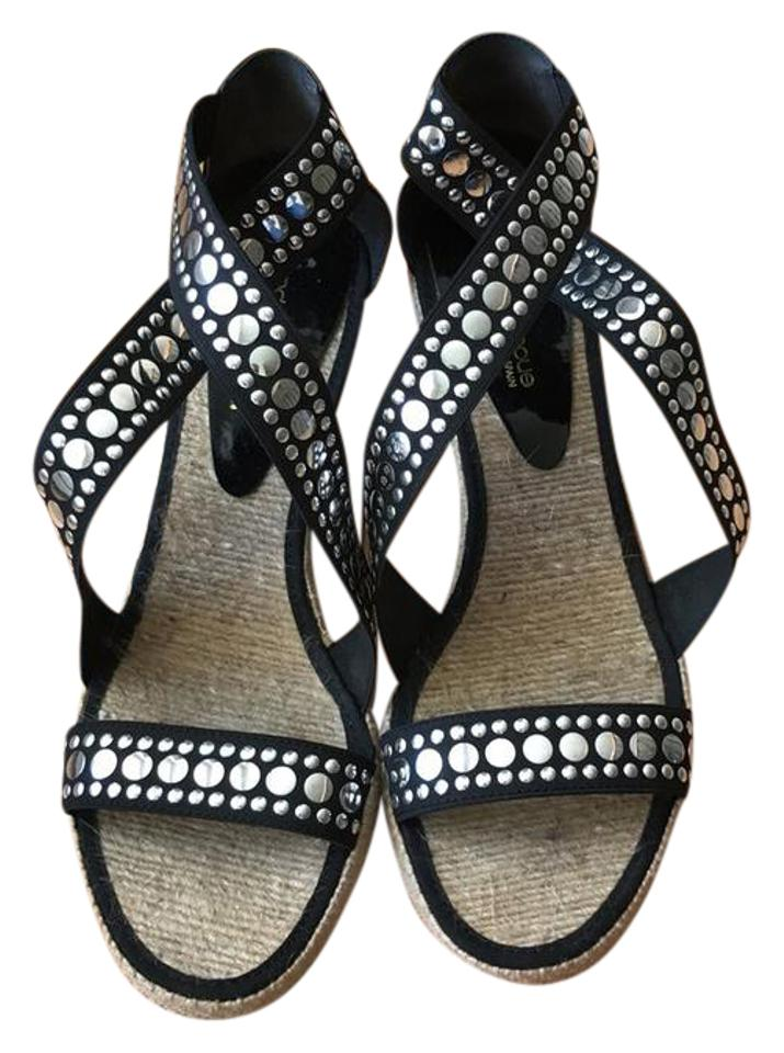 a04f08582 Andre Assous Black Espadrille and Silver Studded Sandals Wedges. Size  US 10  ...