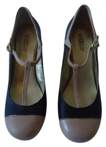 Seychelles Black Tan Color-blocking Mary Jane Wedges