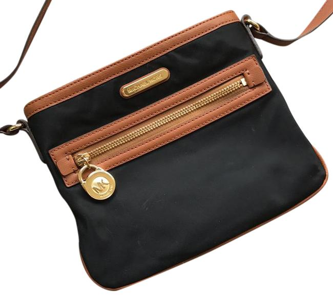 Item - Black with Brown Leather Nylon Cross Body Bag