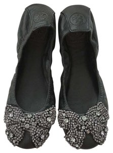 Tory Burch Ballet Sparkle Leather Black Flats