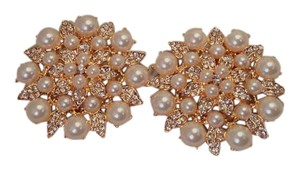 Bridal Gold Plated Faux Pearl Crystal Shoe Clips 2