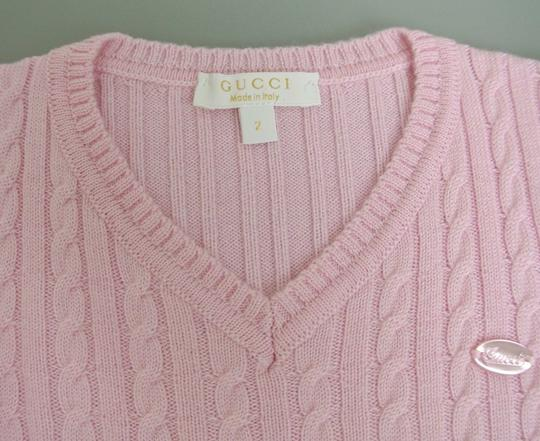 Gucci Pink W Wool/Cashmere Sweater Top W/Script Web 4 270712 Groomsman Gift Image 2