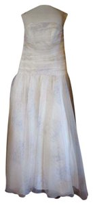 David's Bridal Ivory Organza Pk3502 Unaltered New Strapless Print Ball Gown Feminine Wedding Dress Size 12 (L)
