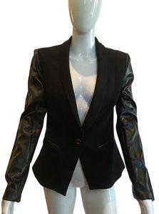 VENUS Jacket Cotton Faux Leather Black Blazer