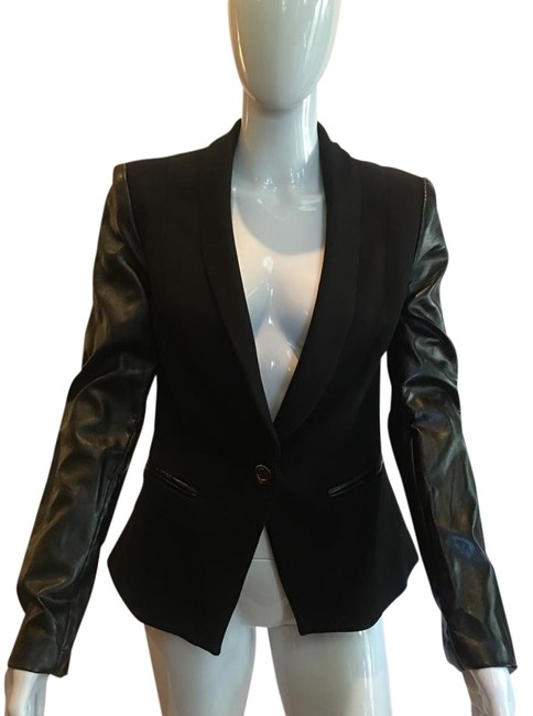 Preload https://img-static.tradesy.com/item/20714164/venus-black-faux-leather-cotton-blazer-size-8-m-0-7-650-650.jpg