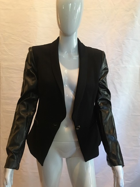 VENUS Jacket Cotton Faux Leather Black Blazer Image 1