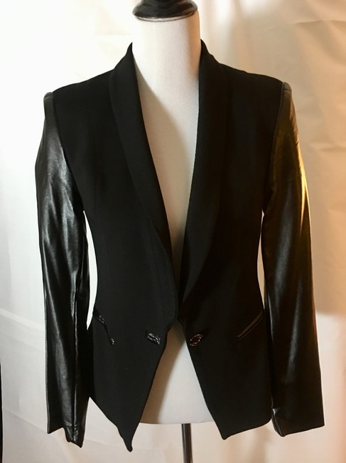 VENUS Jacket Cotton Faux Leather Black Blazer Image 9
