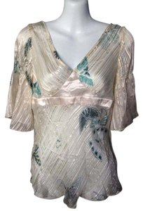 Rebecca Taylor Womens Silk Top Cream, Green, Gold Trim