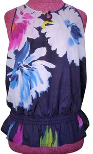Express Top Navy, White, Fuschia, Blue & Green Floral