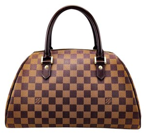Louis Vuitton Checkered Zip Brass Doctor Bowling Satchel in Brown and Tan