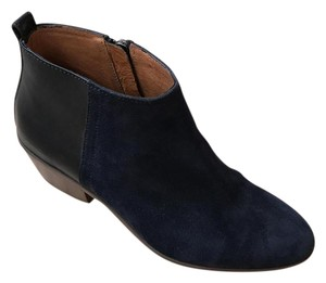 Madewell Suede Leather Round Toe Navy Boots