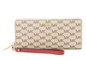 Michael Kors Michael Kors Studio Jet Set Continental Wallet Natural/Cherry