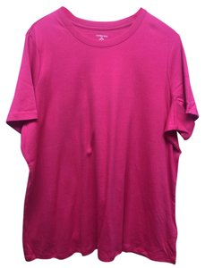 Lands' End Casual Short Sleeve T Shirt Red/Pink