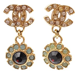 Chanel Chanel Gold Plated CC Red and Opal Crystal Flower Piercing Earrings