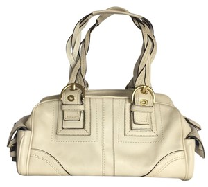 Coach Rare Tote Leather Satchel in Cream