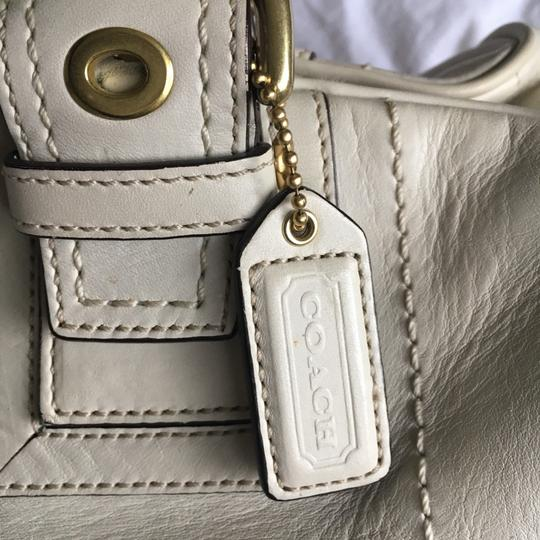 Coach Rare Tote Leather Satchel in Cream Image 8