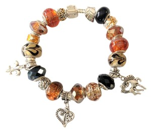 By Kathy New 925 Sterling European Bracelet With Murano Glass Beads & Silver &