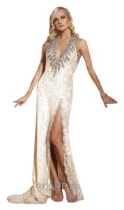 Terani Couture Terani Gl364 Embellished Halter Dress With Plunging Neckline And Train Wedding Dress