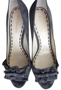 Enzo Angiolini Peep Toe Bow Suede Ruffle Party Grey Suede Pumps