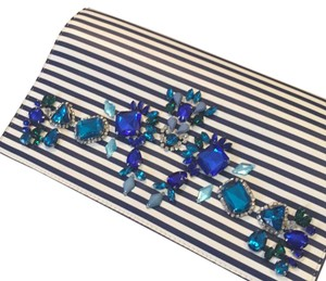 Express Blue and White Clutch
