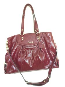Coach Ashley Carryall Patent Leather Maroon Shoulder Bag