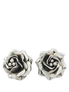 Other Taxco Handcrafted Sterling Silver Rosette Clip On Earrings