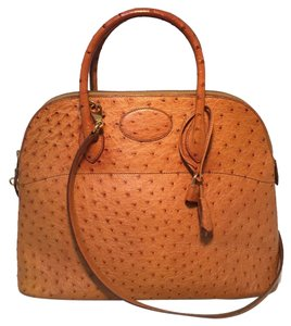 Hermès Bolide Bolide Bolide Ostrich Leather Vintage Tote in Tan