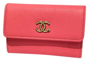 Chanel 17P spring coral flap coin card holder