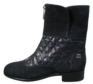 Chanel New Quilted Leather Textured Suede Navy Blue Boots