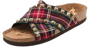 Sam Edelman Plaid Studded Flat Gold Studs Red Plaid Sandals