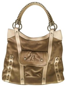 B. Makowsky Two-tone Leather Hobo Rustic Shoulder Bag