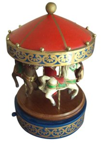 Schmid Vintage Schmid Wood Wooden Carousel Musical Merry Go Round 1985