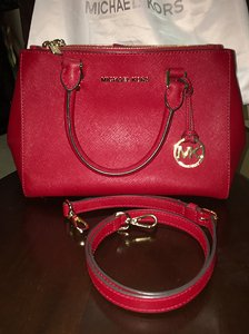 Michael Kors Red Leather Satchel in Chili