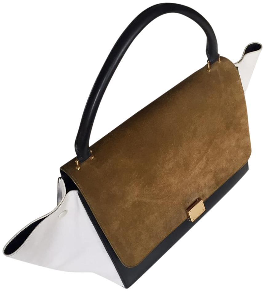 6a072a6ad2 Céline Trapeze Black White Camel Leather and Suede Hobo Bag - Tradesy