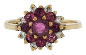 Other Vintage Ruby and Diamond Flower Yellow Gold Jewelry