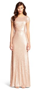 Adrianna Papell Champagne/Blush Beige Nylon Short Sleeve Sequin Gown Formal Bridesmaid/Mob Dress Size 4 (S)