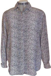 Allison Taylor Animal Print Longsleeve Silk Top Black and White