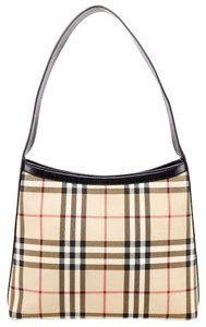 Burberry Multicolor Checkered Canvas Leather Shoulder Bag
