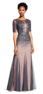 Adrianna Papell Gunmetal Beaded Godet Gown With Sheer Sleeves Dress