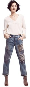 Anthropologie Pilcro Embroidered High-fashion Exclusive Boyfriend Cut Jeans