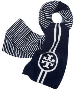 Tory Burch Reversible Striped Double T Long Scarf