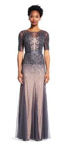 Adrianna Papell Short Sleeves Gown Godet Beaded Sequin Dress