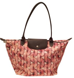Longchamp Canvas Leather Tote in Print