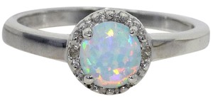 Elizabeth Jewelry Opal & Diamond Round Ring .925 Sterling Silver