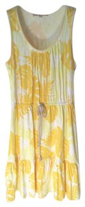 Ann Taylor LOFT short dress Yellow Beach Tropical Cotton Tie Waist on Tradesy