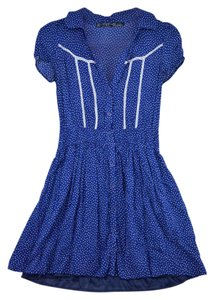 Zara short dress Blue Vintage Polka Dot Retro on Tradesy