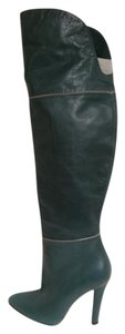 Luca Valentine Leather Italian Thigh High Hunter green Boots